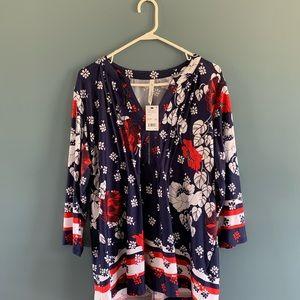 Navy blue women's floral blouse